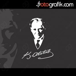 İmzalı Atatürk Silüeti Oto Sticker