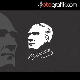 Atatürk Silüeti Oto Sticker