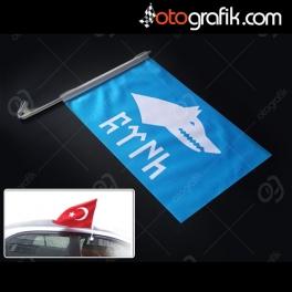 Göktürkçe Türk ve Kurt Bayrağı - Oto Bayrak