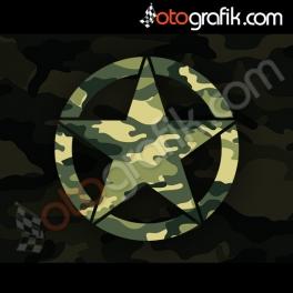 Kamuflaj Baskı Army Star Oto Sticker