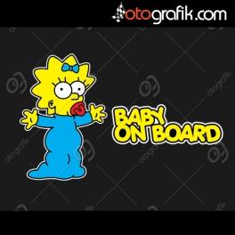 Maggie Simpson Baby on Board Oto Renkli Sticker