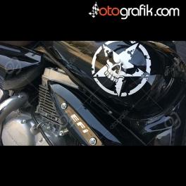 Yıpranmış Kurukafa Motosiklet Sticker Set