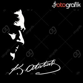 Atatürk Silüeti ve İmza Oto Sticker