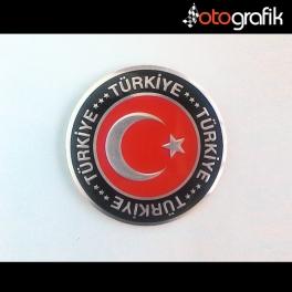 Ay Yıldız Yuvarlak Metalize Türkiye Arma