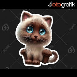 Mavi Gözlü Kedi Renkli Oto Sticker