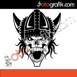 Savaşçı Kurukafa Oto Sticker