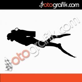 Dalgıç Balıkadam Oto Sticker